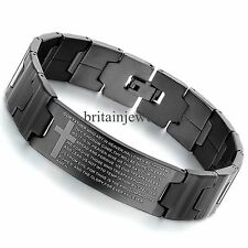 "8.5"" Mens English Bible Prayer Cross Black Stainless Steel Bangle Bracelet*16MM"