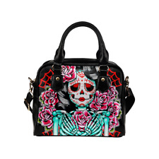 Faux Leather Purse Day of the Dead Sugar Skull Skeleton Girl With Roses Tattoo