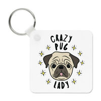 Crazy Pug Lady Stars Keyring Key Chain - Funny Dog Puppy Animal