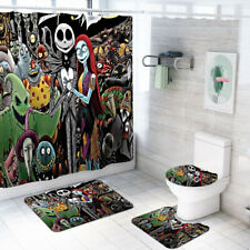 Nightmare Before Christmas Shower Curtain Jack Bath Mat Toilet Lid Cover 4PCS