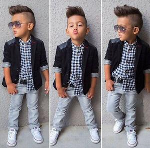 3PCS Baby Boys Dress Suit Coat/Plaids Shirt/Denim Pants Set Kids Clothes Outfits