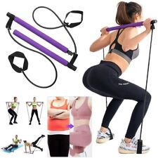 Pilates Yoga Bar Kit with Resistance Band for Total Body Adjustable Exercise Fit