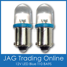 PAIR 12V BLUE LED T10 BA9S GLOBES - Auto Bulbs/Car/Caravan/Truck/RV/4x4 HID LOOK