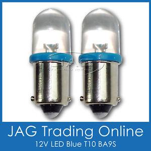 PAIR 12V BLUE LED T10 BA9S GLOBES - Car/Caravan/Automotive/Truck/RV/4x4 HID LOOK