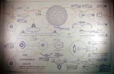 "Classic Star Trek Ship Size Comparison Chart Blueprint 24"" x 36""-Folded-FREE S&H"