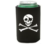 6 Lot Jolly Roger Skull & Bones Pirate Beer Pop Can Koolie Cooler Insulator Cozy