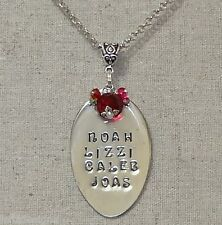 Personalized OOAK Silver Plate Hand Stamped Necklace Spoon Pendant * You Design