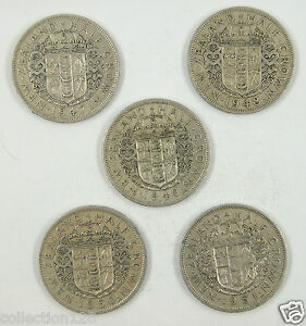 5 Pieces New Zealand 1/2 Crown, 1947-1951, Used