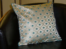 Cream and Teal Dotty Evans Lichfield Cushion Cover
