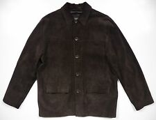 BANANA REPUBLIC MENS LARGE WINTER SHIRT JACKET 100% SUEDE LEATHER BROWN THICK