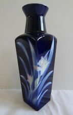 """Deep Blue Square VASE 8"""" Pink/Cream Flower, Blue/White Leaves Looks Hand Painted"""