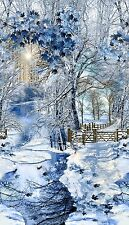 Winter Snowfall Scenic Panel By Timeless Treasures-Snow-Fence-Trees