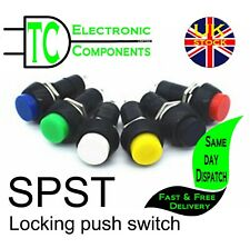 Round On/Off Push Switch (locking) SPST different colours available and kits