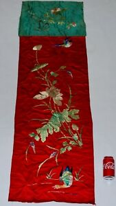 Chinese Antique Silk Embroidery Duck Kingfisher Lotus, Estate Collection Rare