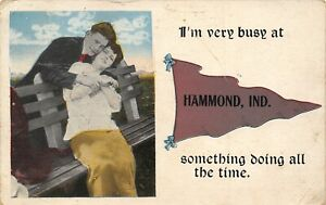 Hammond Indiana~I'm Busy~Something Doing All the Time on Park Bench~Pennant 1919