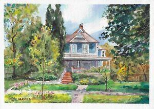 original painting A4 83RK art samovar Watercolor modern summer landscape Signed