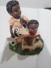 African American Boy Girl Figurine Dog Book Ice Cream