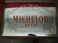 "Vintage 1987 Anheuser-Busch ""Michelob Beer Since 1896"" Framed Bar Mirror Sign"