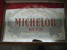 "Vintage 1987 Anheuser-Busch ""Michelob Beer Since 1896� Framed Bar Mirror Sign"