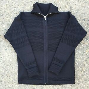 SNS Herning 100% Wool Navy Fishermans Textured Knit Thick Full Zip Sweater S