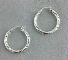 925 Sterling Silver Twisted Hoop Earrings 26mm