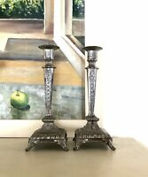 Antik Zinn 2 Leuchter Kerzenständer Kerzenhalter Jugendstil versilbert um 1900