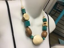 Tagua Nut Handmade Necklace In Ivory Blue And Brown Matching Earrings