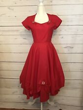 Vintage 50's Sateen Taffeta Size XS/S Dress Rockabilly Prom Cocktail Wedding