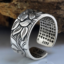 Sterling Silver Engraved Sutra Buddhist Mantra Lotus Ring Rings 925 Statement