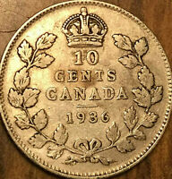 1936 CANADA SILVER 10 CENTS SILVER DIME - Bar variety