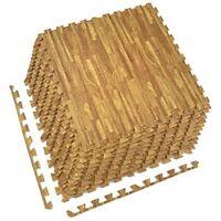 12-Pack Wood Grain Foam Tiles - DIY Installation - Interlocking Floor Yoga Mat