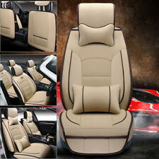 PU Leather Seat Covers Breathable L Size Car 5-Seat Front+Rear W/ Pillow Beige