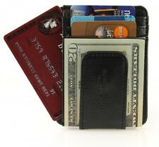 BLACK MAGNETIC Leather MONEY CLIP ID Holder men ID Wallet 910e Credit Card Mens