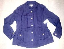 New Women's Coldwater Creek Linen Ellery Jacket Dark Blue - Size 14 NWT $89.95