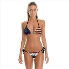 Woman Bikini set USA Flag Skull Printed Halter Bandage Bra+Underwear Swimsuit