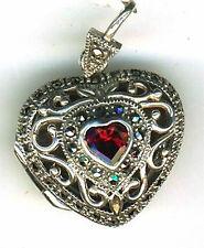 "925 Sterling Silver Garnet & Marcasite Heart Locket Pendant  Hallmarked L1.1/5"""