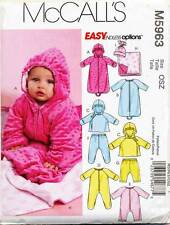 MCCALLS SEWING PATTERN 5963 BABIES NB-L SLEEPING BAG, JACKET JUMPSUITS PANTS HAT