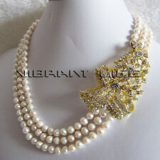 """18-20"""" 5-7mm White 3Row Freshwater Pearl Necklace X3200Y Strand Fashion Jewelry"""