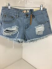 Women's BOO-HOO Sharon Low Rise Distressed Micro Hot Shorts Blue US 8 NWT