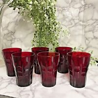 Set Of 6 Vintage Anchor Hocking Ruby Red 4 Oz. Juice Glasses