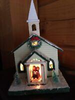 "Berkeley Designs Lighted Music Box Country Church Silent Night 9"" Decor"