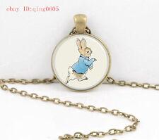 Vintage rabbit Cabochon Tibetan Bronze Glass Chain Pendant Necklace#T38
