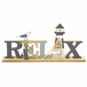 Relax Wooden Letter Ornament   40cm Nautical Free Standing Wooden Sign