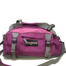 JANSPORT Purple Gray Duffel Gym Bag with Adjustable Strap Athletic Travel