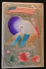 Patriotic~ Airbrushed~Thanksgiving Postcard~Turkeys with American Flag~p895