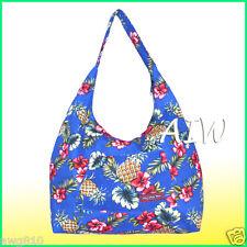 Large Hawaiian print hobo bag w/top zipper - 172Navy