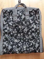 Garment Bag Isabella's Journey Black White Floral Checks Zipper Closure EUC