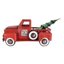 Red Metal Christmas Tree Farm Pickup Truck Toy Decoration Primitive Home Decor