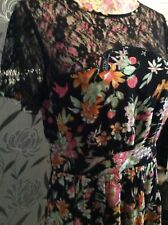 Monsoon Cherry Pie Black Floral Dress Size 12 Very RARE Holiday 11/9