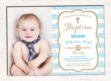 Boy Baptism Invitation Baby Blue Gold Christening Photo Invite First Birthday